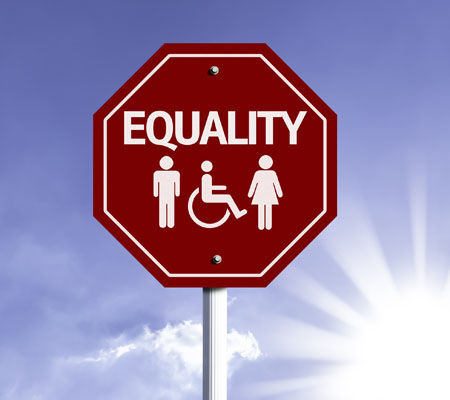 Equity Red Stop Sign with Wheel chair and two people