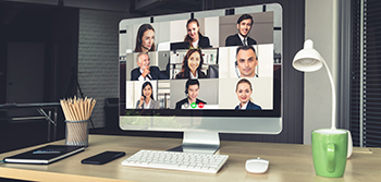 Photo of laptop video conferencing