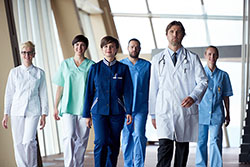 Team of medical personnel in a hospital
