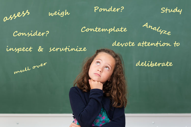 A schoolgirl in front of a blackboard considering all the synonyms for the word consider.